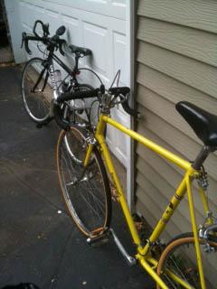 Bikes against garage